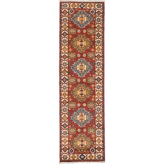 ecarpetgallery Hand-Knotted Royal Kazak Blue, Green, Red Wool Rug (2'10 x 10'1)