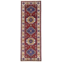 ecarpetgallery Hand-Knotted Royal Kazak Blue, Red  Wool Rug (2'10 x 8'4)