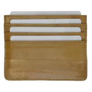 Embossed Eel Leather Credit Card Holder