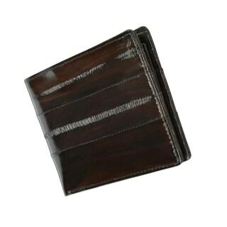 Genuine Embossed Eel Leather Bi fold Middle ID Flap Mens Wallet