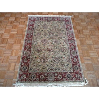 Hand Knotted Sage Green Peshawar with Wool Oriental Rug (4 x 6)