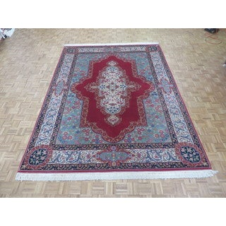 Hand Knotted Rose Fine Kerman with Wool Oriental Rug (9 x 12)