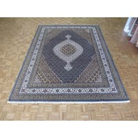 Hand Knotted Light Blue Mahi Tabriz with Wool & Silk Oriental Rug - 9'1 x 12'1