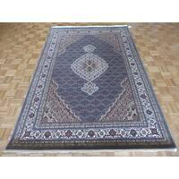 Hand Knotted Light Blue Mahi Tabriz with Wool & Silk Oriental Rug (6'2 x 9'2)