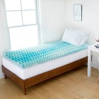 Authentic Comfort 2-inch Dorm Blue Wave Memory Foam Mattress Topper
