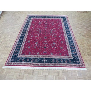 Hand Knotted Hot Pink Kashan with Wool & Silk Oriental Rug (9 x 12)