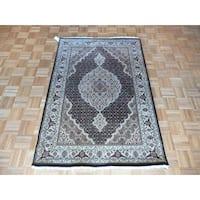 Hand Knotted Black Mahi Tabriz with Wool & Silk Oriental Rug - 4 x 6