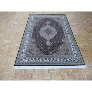 Hand Knotted Black Mahi Tabriz with Wool & Silk Oriental Rug (6'9 x 10'1)