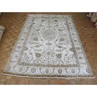 Hand Knotted Beige Tabriz with Wool Oriental Rug - 9'5 x 13'4