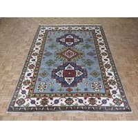 Hand Knotted Sky Blue Kazak with Wool Oriental Rug (9 x 11'10)