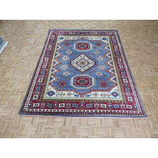 Hand Knotted Light Blue Kazak with Wool Oriental Rug (7'11 x 10'2)