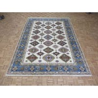 Hand Knotted Ivory Kazak with Wool Oriental Rug (8'9 x 12)