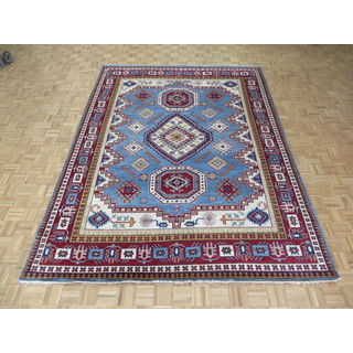 Hand Knotted Light Blue Kazak with Wool Oriental Rug (8'10 x 11'11)