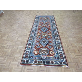 Hand Knotted Rust Red Kazak with Wool Oriental Rug (4'2 x 11'8)