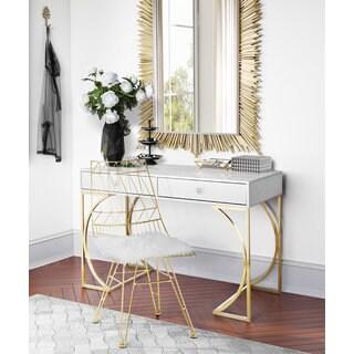 Lexie Grey Desk with Goldtone Finish Steel Base