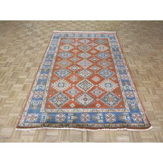 Hand Knotted Orange Kazak with Wool Oriental Rug (5'11 x 9)