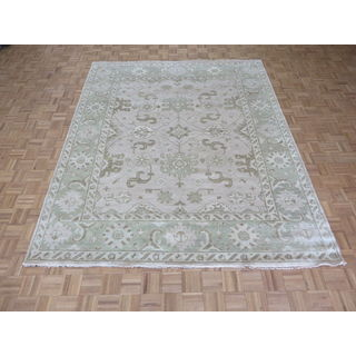 Hand Knotted Ivory Oushak with Wool Oriental Rug (8'4 x 10)