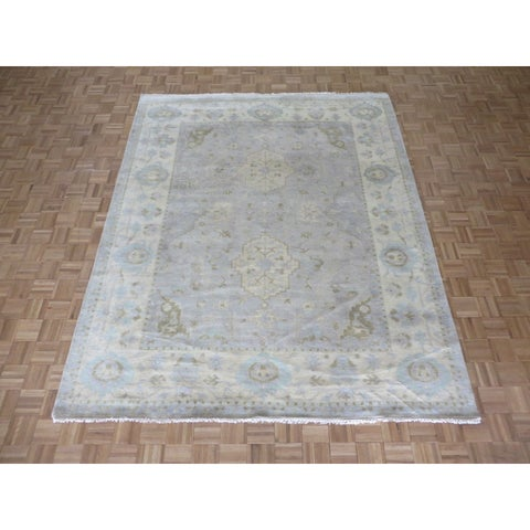 Hand Knotted Soft Aqua Blue Oushak with Wool Oriental Rug - 8'2 x 9'11