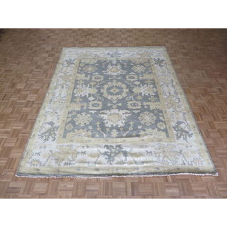 Hand Knotted Silver Blue Oushak with Wool Oriental Rug (8'1 x 10'2)