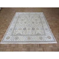 Hand Knotted Ivory Oushak with Wool Oriental Rug (7'11 x 9'10)