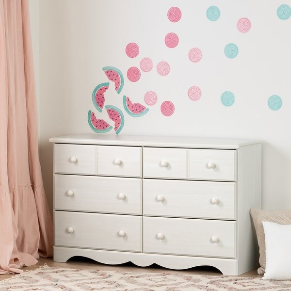 South Shore Summer Breeze Pure White And Pink 6 Drawer Double Dresser With  Watermelons And
