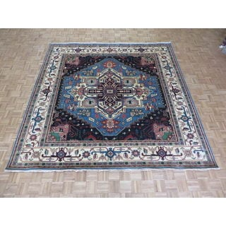 Hand Knotted Light Blue Serapi Heriz with Wool Oriental Rug (9'11 x 9'11)