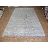 Hand Knotted Grey Oushak with Wool Oriental Rug - 11'5 x 18'4