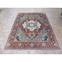 Hand Knotted Rust Red Serapi Heriz with Wool Oriental Rug - 9 x 11'10