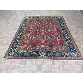Hand Knotted Rust Red Serapi Heriz with Wool Oriental Rug (7'10 x 9'7)