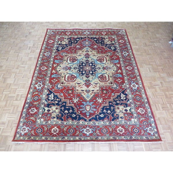 Hand Knotted Heriz Wool Fine Persian Oriental Area Rug: Shop Hand Knotted Brick Red Serapi Heriz With Wool