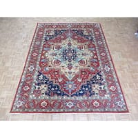 Hand Knotted Brick Red Serapi Heriz with Wool Oriental Rug - 8'11 x 11'11