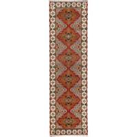 ecarpetgallery Hand-Knotted Royal Kazak Orange  Wool Rug (2'10 x 9'11)