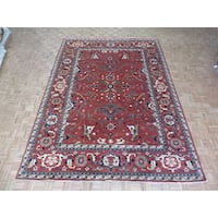 Hand Knotted Brick Red Serapi Heriz with Wool Oriental Rug (10 x 14)