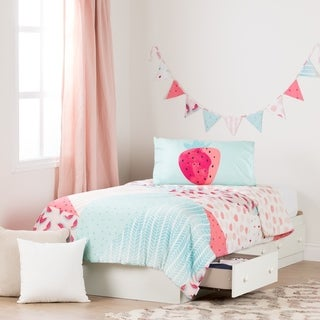 South Shore Summer Breeze Pure White and Pink Twin Mates Bed with Watermelons Twin Comforter Set and Pennant Banner