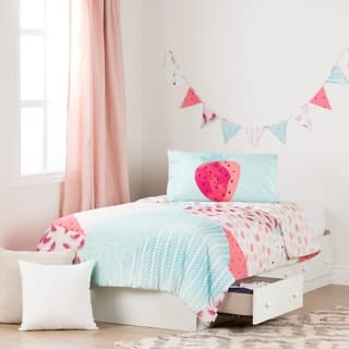 south shore summer breeze pure white and pink twin mates bed with watermelons twin comforter set - Pink Bedroom Set