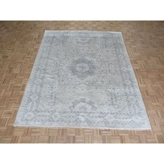 Hand Knotted Beige Oushak with Wool Oriental Rug (8'1 x 9'9)