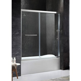 ANZZI Keep Series Right Side 60.43 in. x 59.06 in. Framed Sliding Tub Door in Brushed Nickel with Handle