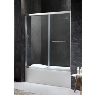 ANZZI Keep Series Left Side 60.43 in. x 59.06 in. Framed Sliding Tub Door in Brushed Nickel with Handle