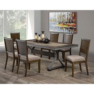 Brassex Venetian Brown Wood 7-piece Dining Set