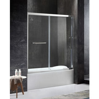ANZZI Keep Series Right Side 60.43 in. x 59.06 in. Framed Sliding Tub Door in Chrome with Handle