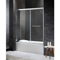 ANZZI Keep Series Left Side 60.43 in. x 59.06 in. Framed Sliding Tub Door in Chrome with Handle