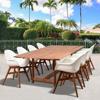 Amazonia Deluxe Hawaii White Wood/Resin 9-Piece Rectangular Patio Dining Set
