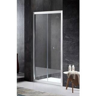 ANZZI Rampart Series Reversible Side 35.43 in. x 71.65 in. Framed Hinged Bi-Fold Shower Door in Brushed Nickel with Handle