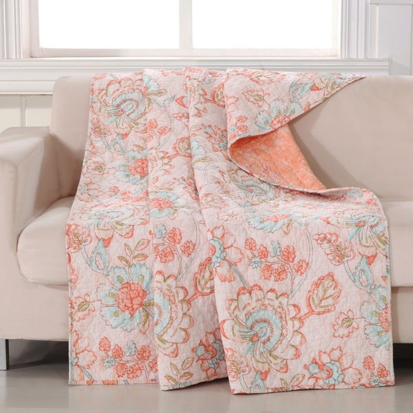 Barefoot Bungalow Cordelia Coral/ Aqua Quilted Throw