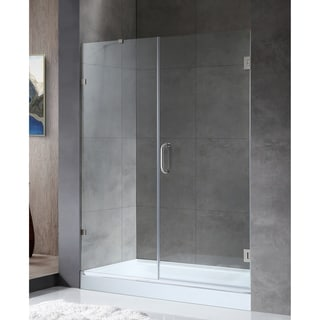"""ANZZI Consort 58.5"""" x 72"""" Frameless Hinged Alcove Shower Door in Brushed Nickel"""