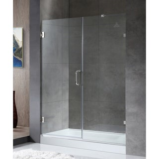 ANZZI Consort Series 58.5 in. by 72 in. Frameless Hinged Alcove Shower Door in Polished Chrome with Handle