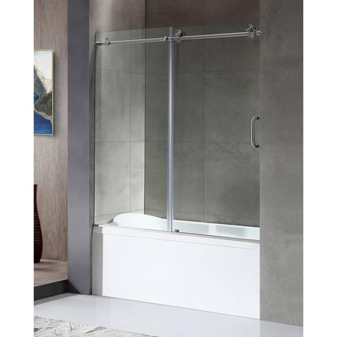 "ANZZI Don 59"" x 62"" Frameless Sliding Tub Door in Brushed Nickel"