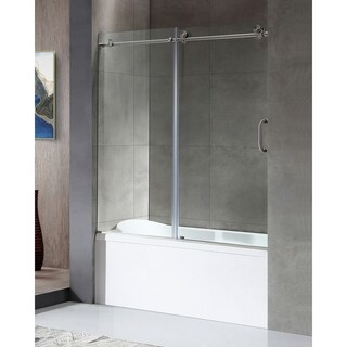ANZZI Don Series 59 in. by 62 in. Frameless Sliding Tub Door in Brushed Nickel with Handle