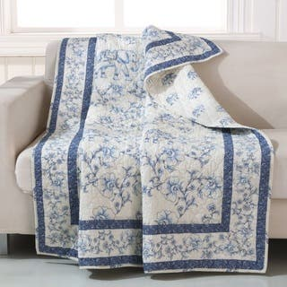 Barefoot Bungalow Saffi/Blue Elephant Quilted Throw|https://ak1.ostkcdn.com/images/products/16288321/P22654746.jpg?impolicy=medium