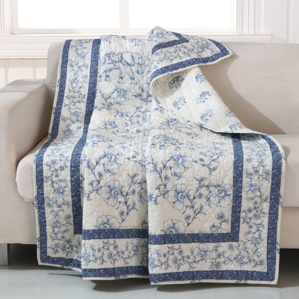 Barefoot Bungalow Saffi/Blue Elephant Quilted Throw